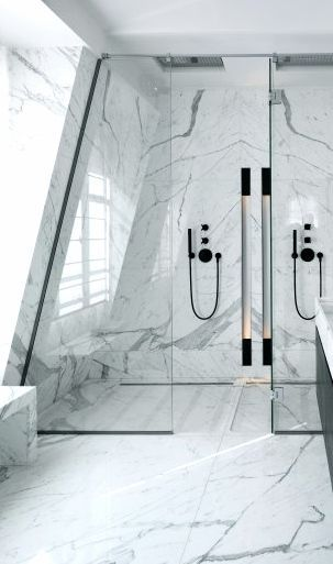 / Dual shower + marble--Numéro A, Private residence in Paris II, lighting by Kreon