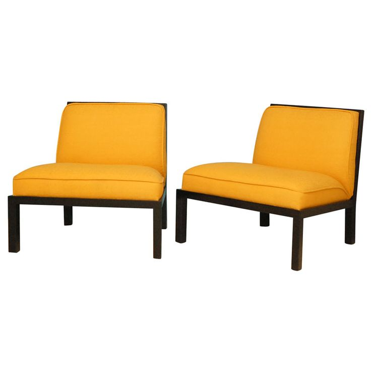 pair of michael taylor for baker slipper chairs
