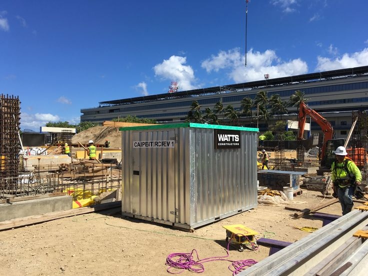 These are the containers that went to Hawaii for Watts Constructors LLC. They are building high-rise buildings, putting the tools in the containers then lifting them up floor by floor with a crane as they build. Thank you for the cool pictures Watts Constructors! Learn more about our portable storage containers here: http://www.cover-tech.com/portable-containers #storageinnovation #constructionprojects #portablecontainers #jobsitestorage #secure #tbt #thankfulthursday