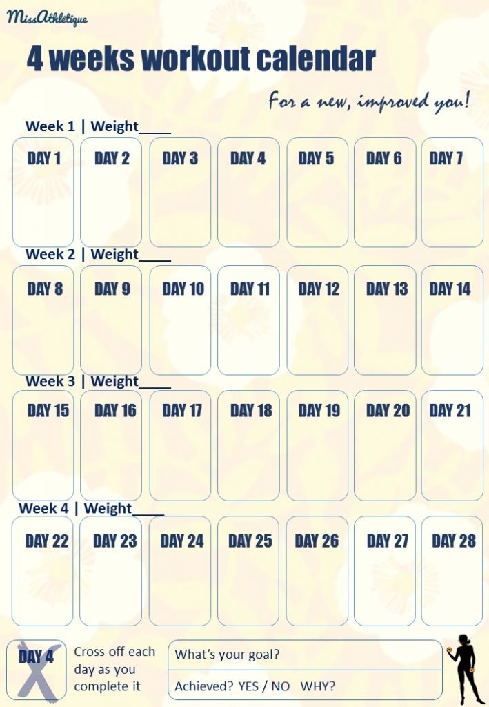 Georges Excel Workout Calendar Year 2017 And Products