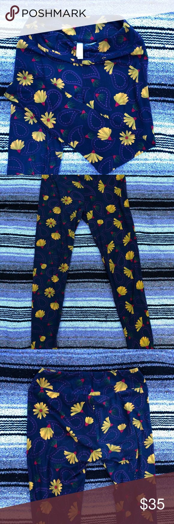 LulaRoe blue & yellow leggings LulaRoe blue y yellow leggings super cute LuLaRoe Pants Leggings