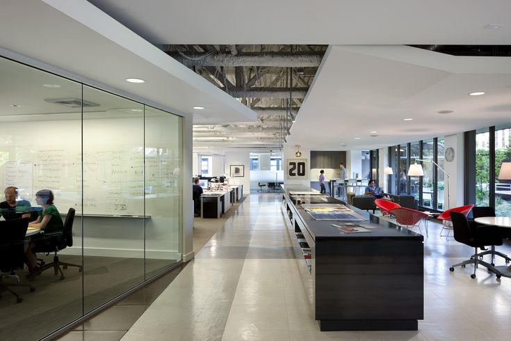 The workspace for Methodologie — a Seattle design studio — has several areas for team space and collaboration.