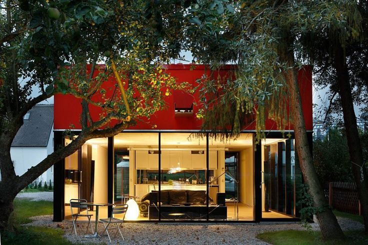 Exterior, Picturesque Simple House V In Upper Bavaria Nearby Munich By Munich Based Studio Feturing Cool Yard Architecture With Red Exterior Wall And Lawn: Stunning Red Exterior Design Reflected in Catchy House V in Germany