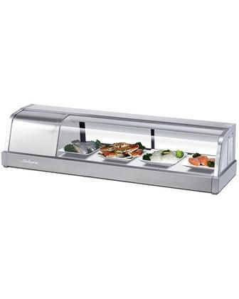 """TSSC4 48"""" Remote Sushi Case with Removable Tempered Glass Top Stainless Steel Finished Mirror Removable Front Door and Removable Back Door"""