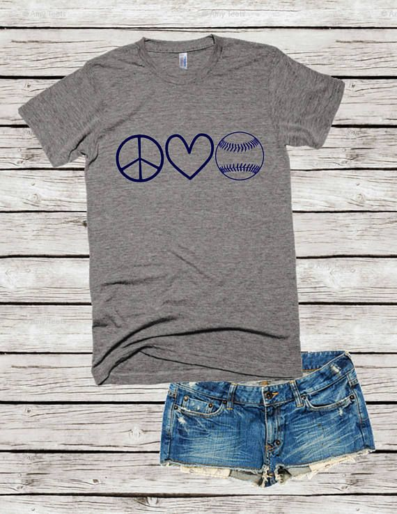 Peace Love Baseball Shirt Sports Mom Tee Baseball Mom Shirt
