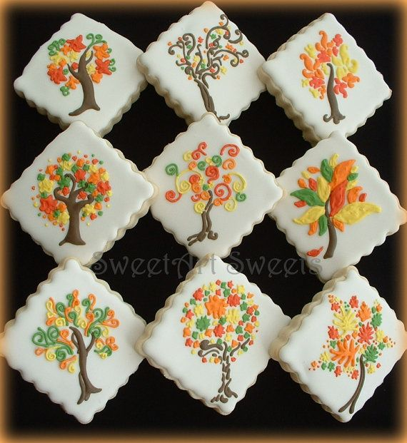 Fall cookies 1 dozen fall tree cookies by SweetArtSweets on Etsy