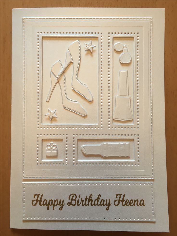 A birthday card made using a Sue Wilson Shadow Box die set. The sentiment was cut from vinyl using a Silhouette Cameo.