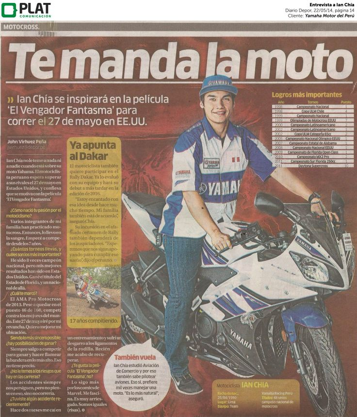 Yamaha: Entrevista a Ian Chía en el diario Depor de Perú (22/05/14)