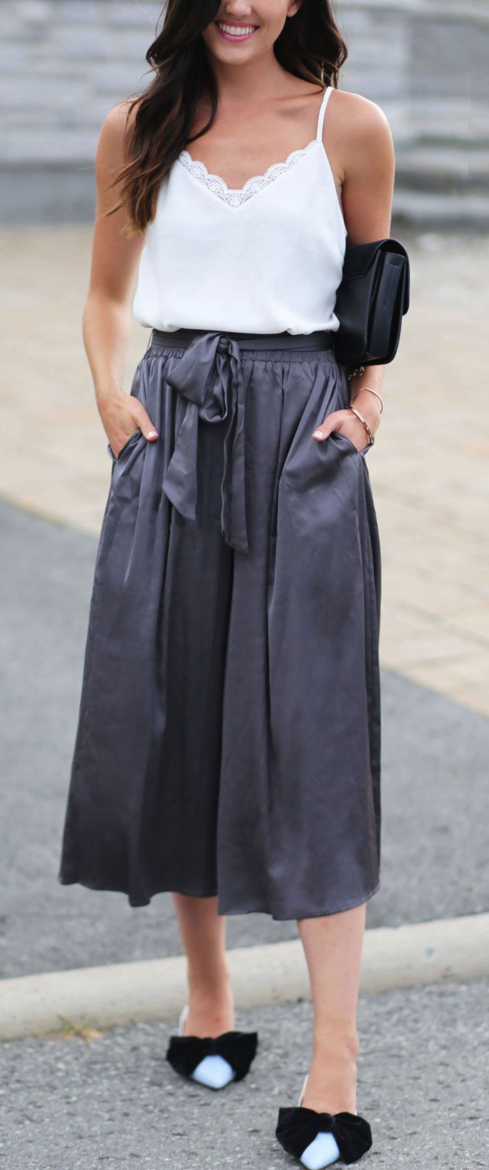 LIVING in culotte pants these days! They are THE MOST COMFORTABLE, and these satin grey ones are under $50!! Paired them with a white tank top and adorable kitten heels, perfect for the end of summer and start of fall! #effortlesslychic