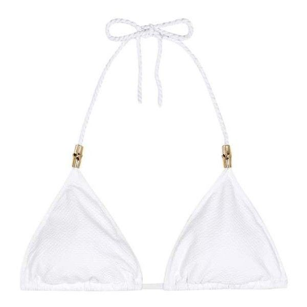 Heidi Klein Core Triangle Bikini Top ($140) ❤ liked on Polyvore featuring swimwear, bikinis, bikini tops, bikini, beachwear, white, tankini tops, white bikini, triangle swimwear and white tankini top