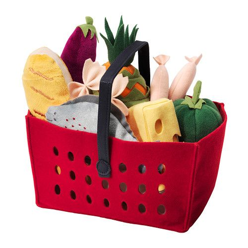 IKEA - LÅTSAS, 11-piece shopping basket set, , Encourages role play which helps children to develop social skills by imitating grown-ups and inventing their own roles.