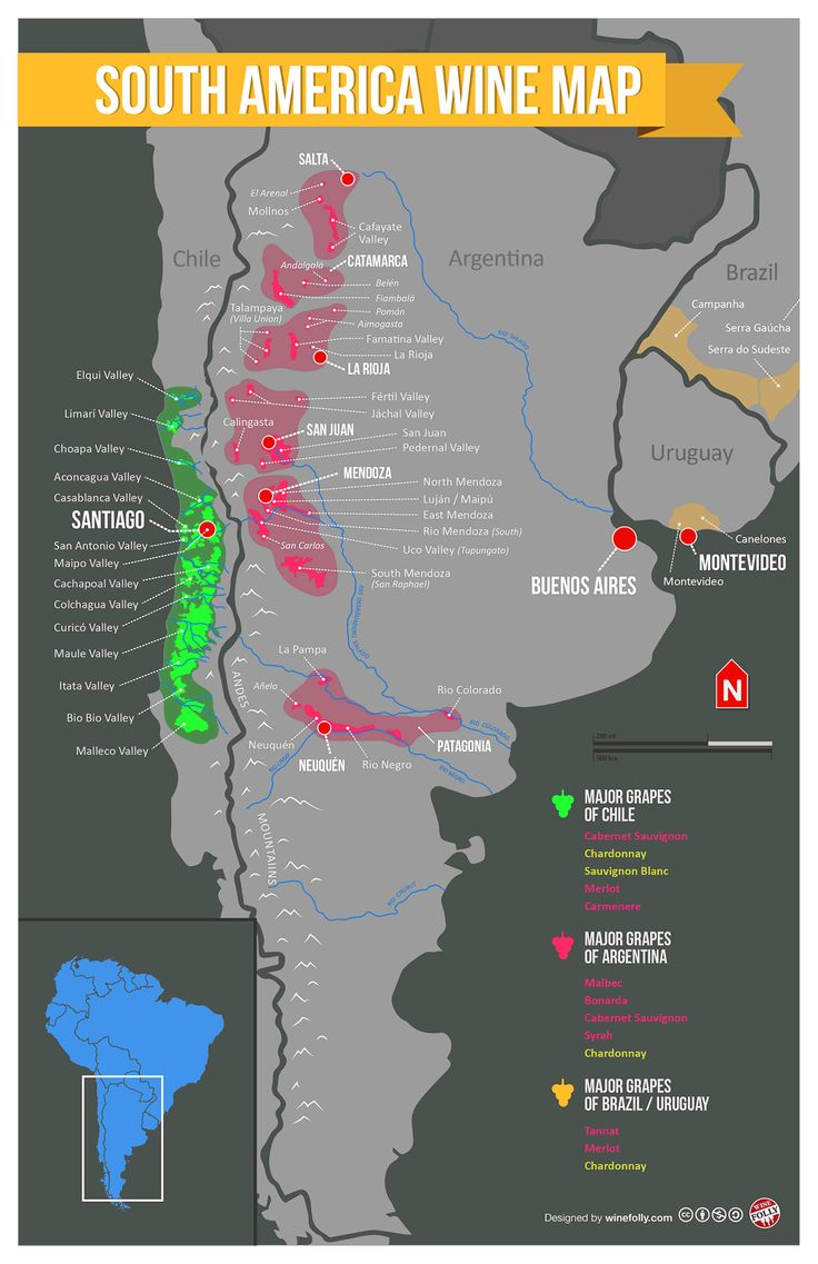 South America Wine Region Map wine / vinho / vino mxm http://www.yourwinecellar.org