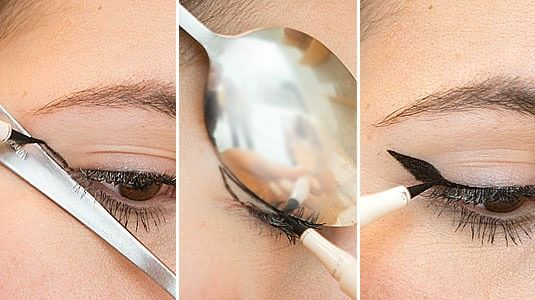 14.Use the handle & the round edgeof a spoonto createperfect winged liner.  Hold the handle of a spoon against the outer corner ofeye, & draw a straight line. Then, flip the spoon so it's hugging your eyelid, & use the rounded outer edge to create a perfectly curved, winged tip.