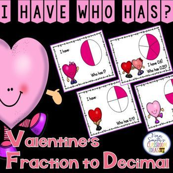I Have, Who Has? St. Valentine's Day Fractions to Decimals Cards has an adorable Valentine's Day theme. Perfect for small group, after school tutoring or your emergency substitute folder. This resource includes Teacher Directions - EASY: 1 Teacher Answer Key and 12 Cards - HARD:  1 Teacher Answer Key and 12 Cards - The easy version has your students read the decimal directly off of the cards, while the hard version requires your students convert the fractions to decimals.