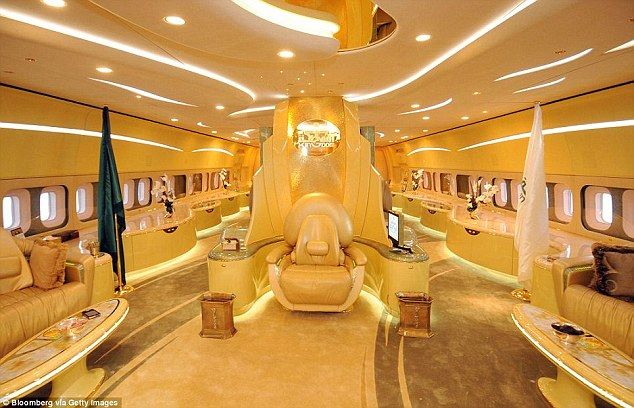 A comfortable throne decorated in gold also sits in the middle of Prince Al-Waleed's plane...