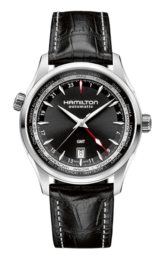 The JAZZMASTER GMT with its second time zone brings the Jazzmaster line to new destinations. Its red or blue hand indicating the second time zone and 24 hours dial make a bold statement in the Jazzmaster collection showing that classic watches travel the world.