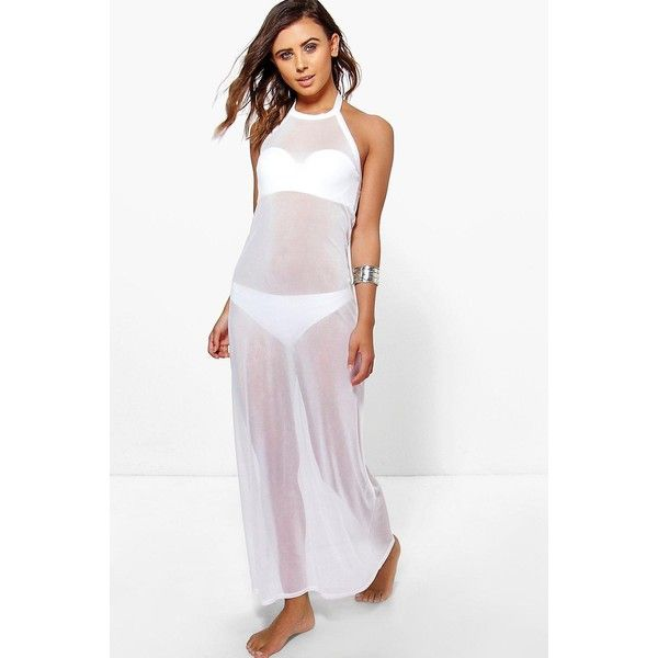 Boohoo Petite Petite El All Over Mesh Halterneck Beach Cover Up (215 EGP) ❤ liked on Polyvore featuring swimwear, cover-ups, white, high waisted bikini, beach cover up, beach cover ups, halter bikini and kimono beach cover up