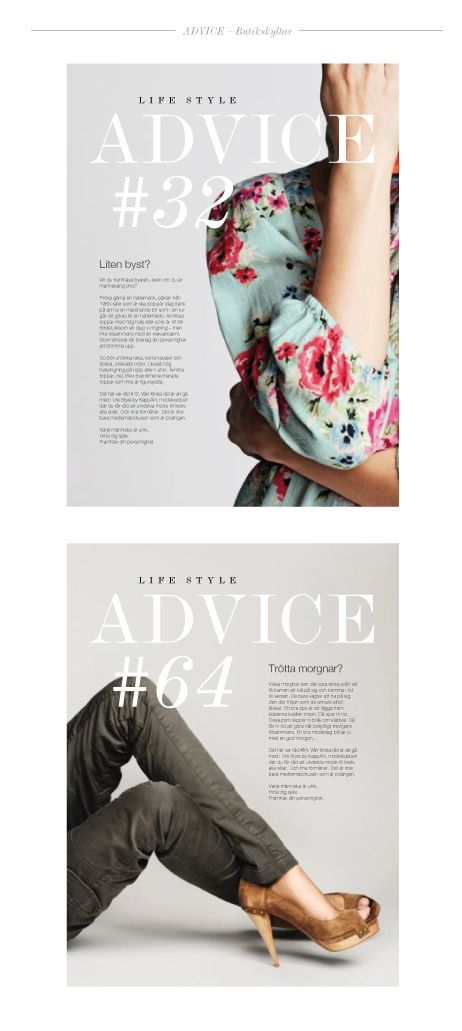 """Concept, layout and loyalty program for """"Life Style by KappAhl"""". Above; Store signs with fashion advice. Art direction for smicker.se"""