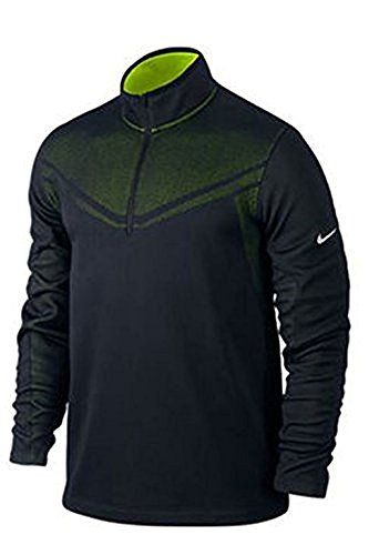 Nike Men's Hypervis Half-Zip Golf Sweater, Black/Volt/Black/Metallic Silver, Large