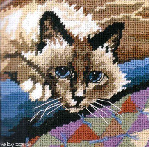 Dimensions #needlepoint CUDDLY #CAT ♥ #ebay #sale #animals #pets #portrait #art #gift #home #interior #walldecor #DIY #project #handcraft #handmade #needlework #stitching #craft #create