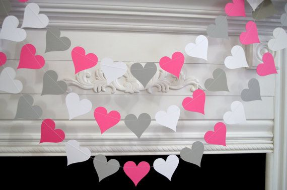 Wedding Garland, Valentines Garland, White Gray Pink Heart Decorations, Bridal shower decor, Baby shower decor, any occasion garland on Etsy, $10.00