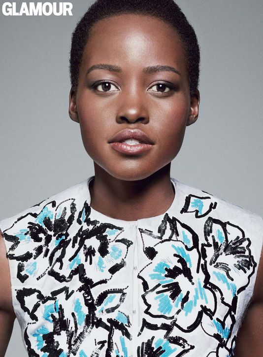 Lupita Nyong'o in a Dior vest in Glamour, December 2014