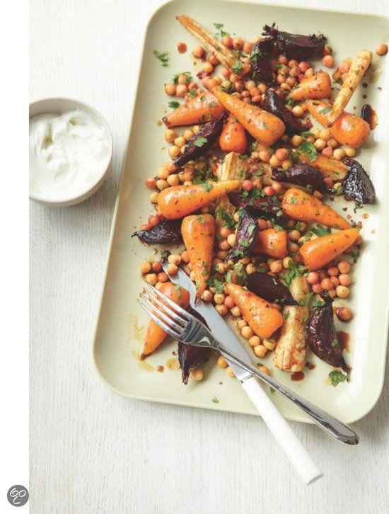 Geroosterde wortelgroenten met kikkererwten Peulvruchten, Jenny Chandler #Vegetables