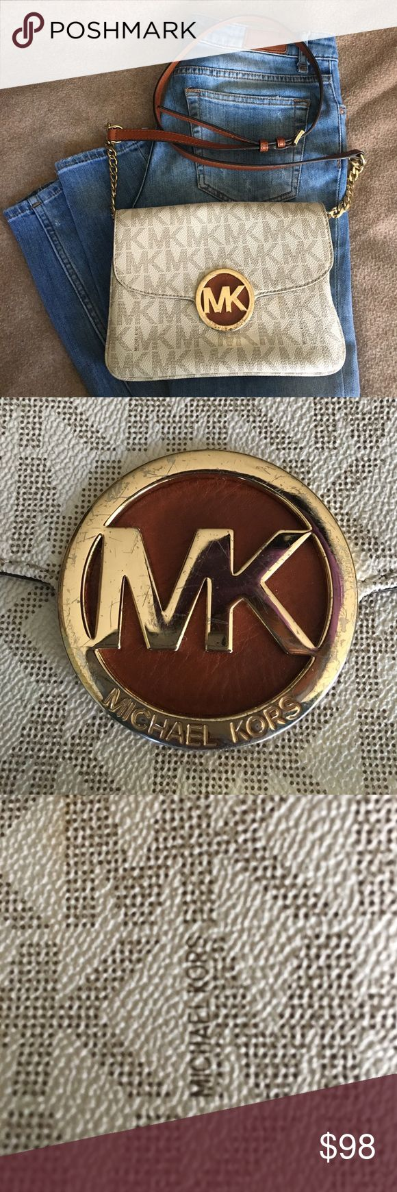 Authentic Michael Kors Crossbody **Very Good Condition** wore many times & one of my favorite. - hard to let it go! barely see a few stains inside, perfume smelled, MK metal has scratches and 4 pockets 1 zip. Michael Kors Bags Crossbody Bags