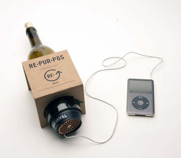 Repurpos by Laura Howell, via Behance - amp and speaker made from wine bottle