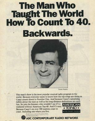 Listening to Casey Kasem's American Top 40 Countdown on the radio every weekend - a voice you can never forget.