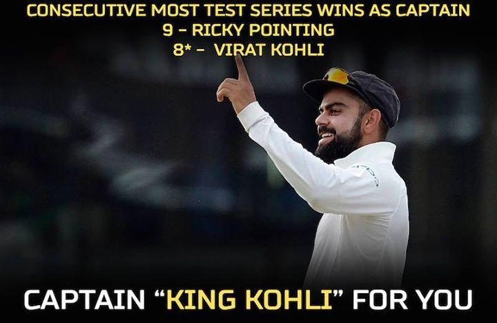 Virat Kohli is now next to Ricky Ponting in winning consecutive Test series #SLvIND #2ndTest For more cricket fun and updates click http://ift.tt/2gY9BIZ - http://ift.tt/1ZZ3e4d