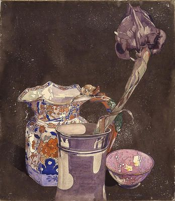 The Grey Iris c 1923, pencil and watercolour by Charles Rennie Mackintosh (1868-1928).