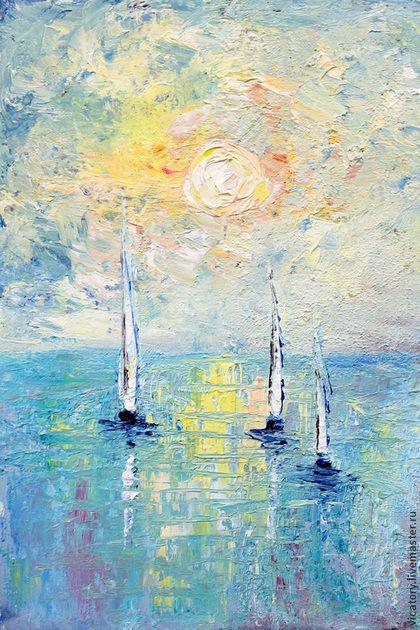 "Небо и море. Лодки навстречу солнцу. ""The sky and the sea. Boats to the sunrise"" by Victoria Sokolova, oil, canvas, 2014"