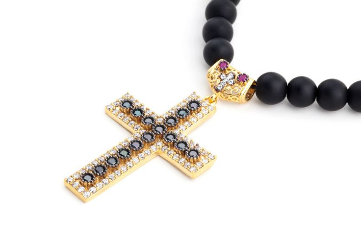ABRAHAM Cross Natural Stone Necklace