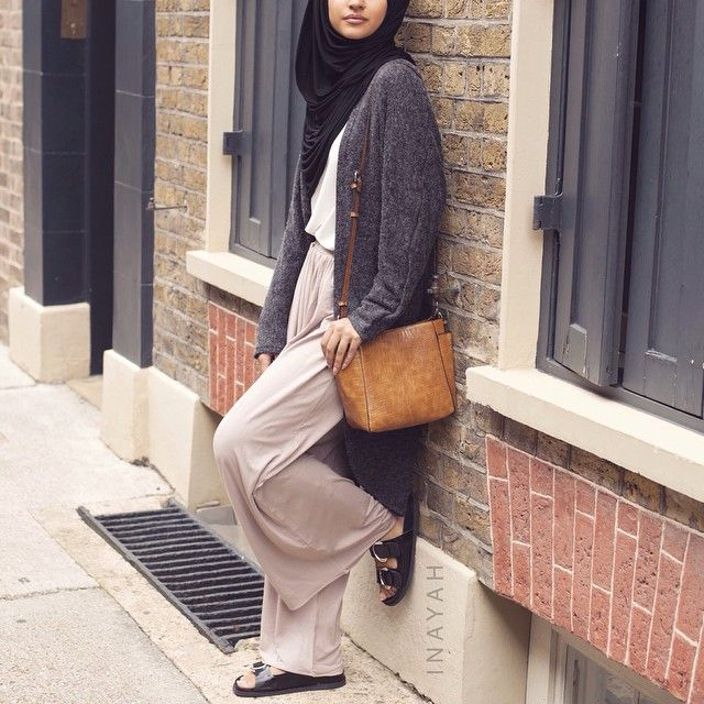 Charcoal Long Cardigan + Stone Palazzo Pants + White Crepe Top | INAYAH www.inayahcollection.com #inayah#hijabfashion#modestfashion
