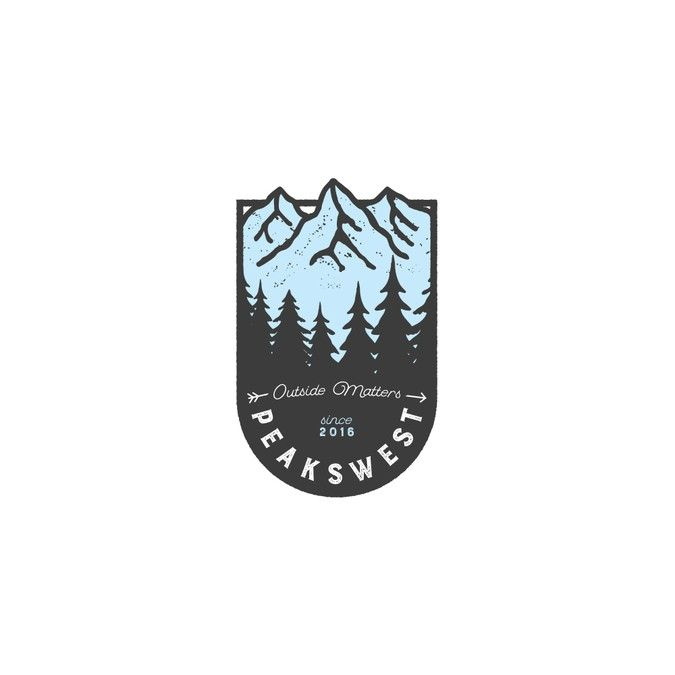 Logo design by the nomad for chuckmordhorst. Peakswest is an outdoor apparel company geared towards backpacking and fly fishing. As such, their logo distinctly venerates a culture of nature, featuring a dark silhouette of trees backed by pale blue mountains. #logo #apparel #design