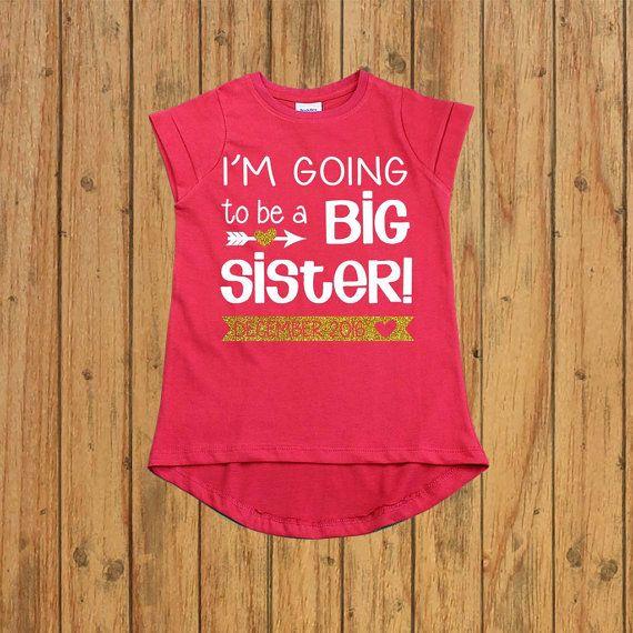 Personalizada camiseta de hermana mayor anuncio de embarazo