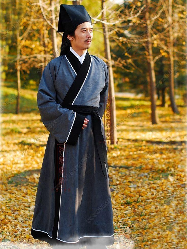 Men's Silk floss Gray Straight hem robe Shang Dynasty Hanfu Clothing - USD $ 260.00