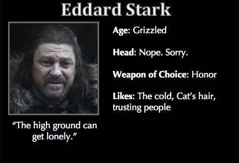 Game of Thrones Trading Cards- Eddard Stark