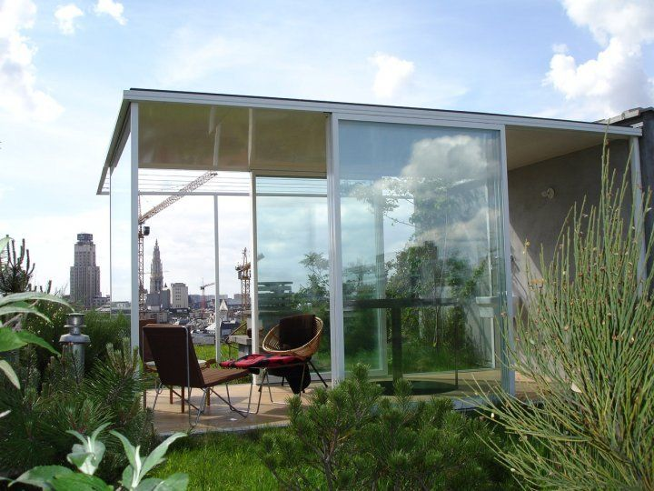 Bart & Pieter | Tuinarchitectuur - wilde daktuin met tuinpaviljoen op de 10de etage