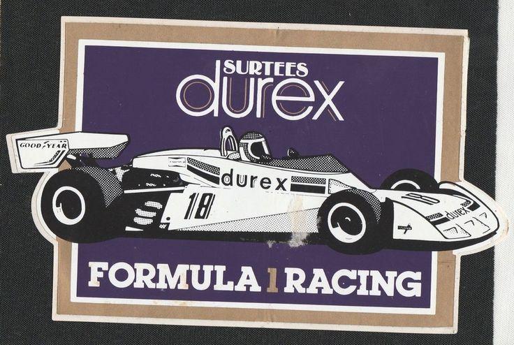 SURTEES DUREX FORMULA 1 RACING TEAM 1977 TS19 GP ORIGINAL PERIOD RACING STICKER