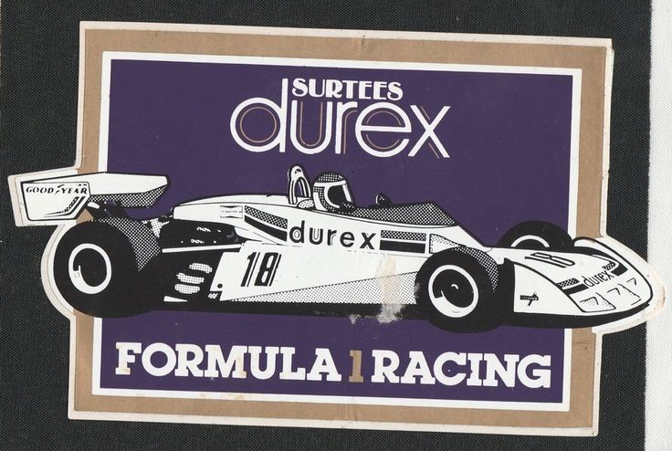SURTEES DUREX FORMULA 1 RACING TEAM 1977 TS19 GP ORIGINAL PERIOD RACING STICKER