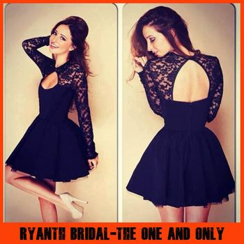 nyc Little stores Dresses Short      Back Open fashion Evening With Dress Popular Sleeves Long mens Black Lace Prom