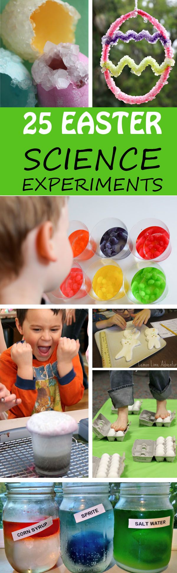 25 fun and easy Easter science experiments for kids that the entire family will enjoy. Experiment with eggs, carrots and Easter candy (peeps & jelly beans). Science experiments for toddlers, preschoolers, kindergartners and older kids.  at Non Toy Gifts
