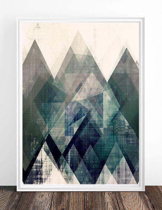 Mountains print, Abstract print, geometric wall art, abstract mountain, minimalist art, modern art, scandinavian print, minimalist abstract, triangles print, nordic design