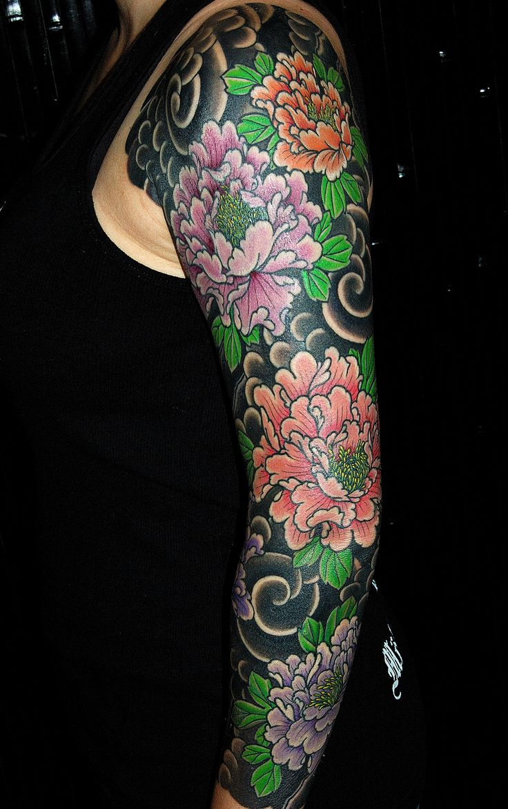 Japanese calf tattoos by durb - I Really Love Tattoos On A Black Ground Japanese Style Tattoo Sleeve Of Peonies