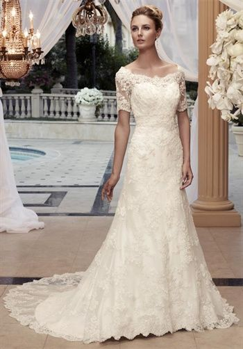 Casablanca Bridal - Lacey, floor length, A-line, off shoulder, 1/2 length sleeves