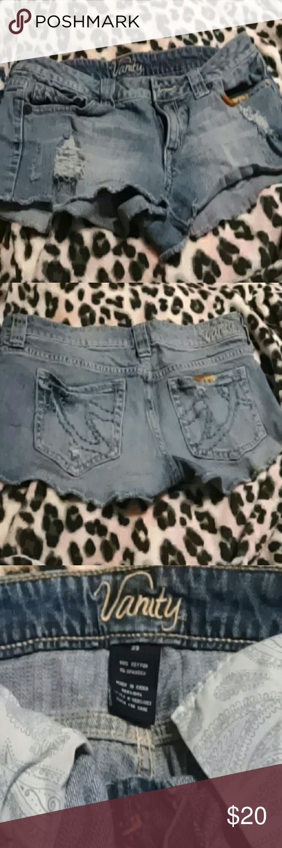 Vanity shorts Cute distressed short(Daisy Duke) shorts with thread  color details Vanity Shorts Jean Shorts