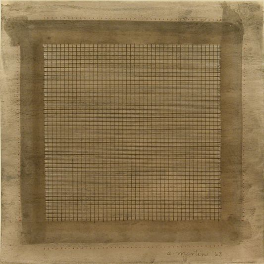 sweetpeabot: Agnes Martin Wood I, 1963 watercolor and graphite on paper, 15 x 15 1/2 inches (38.1 x 39.37 cm)