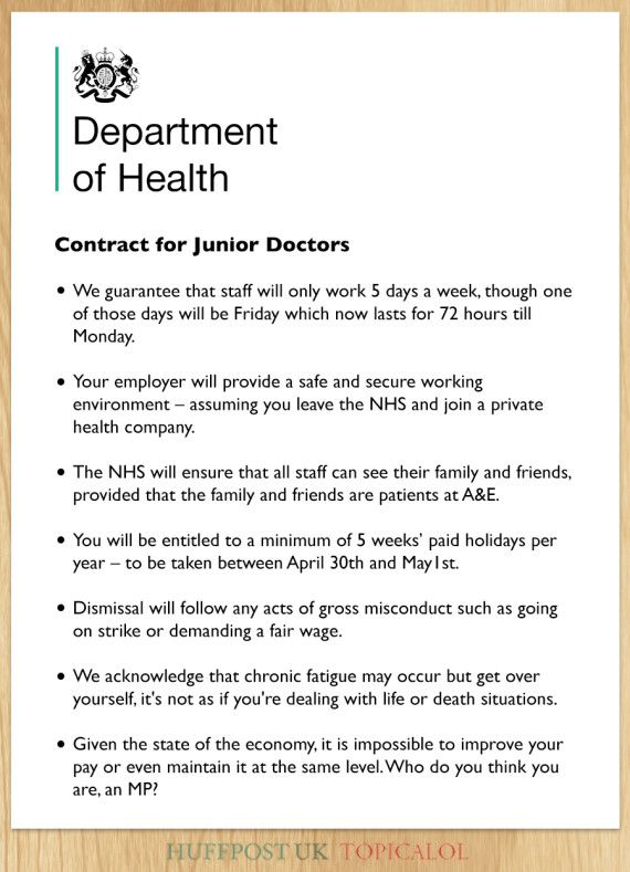 NHS Junior Doctor Contract Leaked